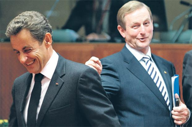Taoiseach Enda Kenny and French President Nicolas Sarkozy found time for a laugh and joke during their talks at the EU leaders' summit in Brussels last night after the pair made a significant breakthrough in negotiations