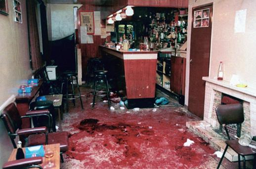 The scene inside O'Toole's Bar in Loughinisland, Co Down following the shooting. Photo: PA