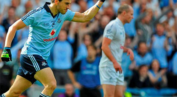 Bernard Brogan, Dublin, celebrates after scoring the winning point against Kildare. Photo: Sportsfile