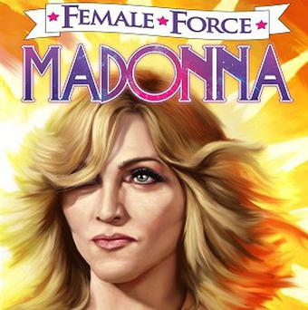 Madonna is featured on the cover of the Bluewater Productions comic book