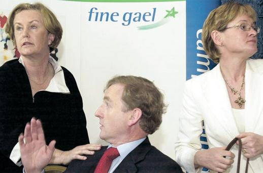 Man in the middle: Avril Doyle (left) with Fine Gael leader Enda Kenny and Mairead McGuinness, her former running mate in Ireland East, in 2004