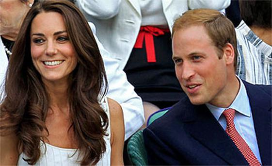 Prince William and his wife Kate pictured in the Royal Box at Wimbledon. Photo: PA