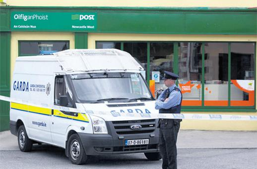 The Kelliher family-run post office in Newcastle West, Co Limerick, where the tiger raid took place yesterday