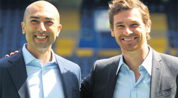New Chelsea manager Andre Villas-Boas (right) was unveiled at Stamford Bridge yesterday alongside assistant boss and former Blues player Roberto Di Matteo