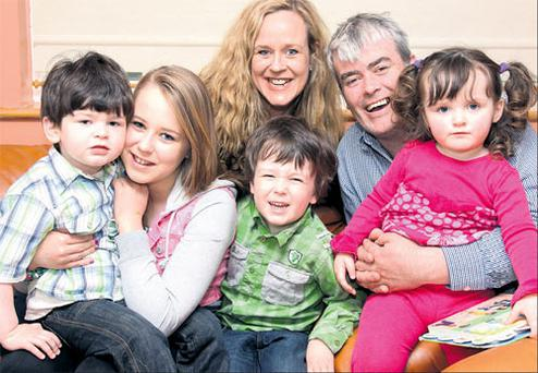 Anna and Des Cannon with their children. Photo: Martin Maher