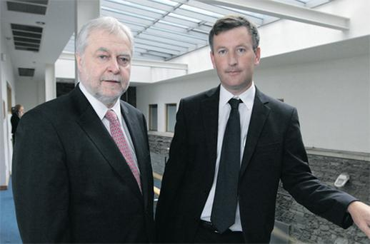 Former attorney general Paul Gallagher, left, and senior UCD law lecturer Gavin Barrett