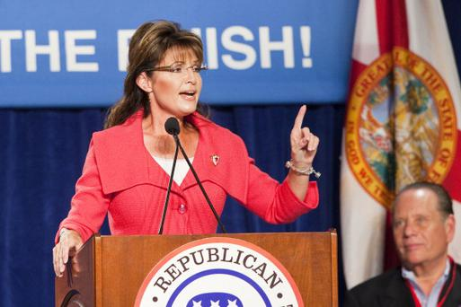 LAKE BUENA VISTA, FL - OCTOBER 23: Former Alaska Governor Sarah Palin speaks at the Republican National Committee Final 2010 Victory fundraising rally October 23, 2010 in Lake Buena Vista, Florida. The speakers were supporting Marco Rubio's run for U.S. Senate as well as several House of Representatives seats and statewide offices. Rubio is running against Florida Gov. Charlie Crist for the seat. (Photo by Matt Stroshane/Getty Images)