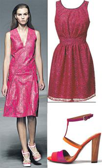 Lace dress, €19, Penneys; Wooden heeled satin sandal, €59.95, Zara