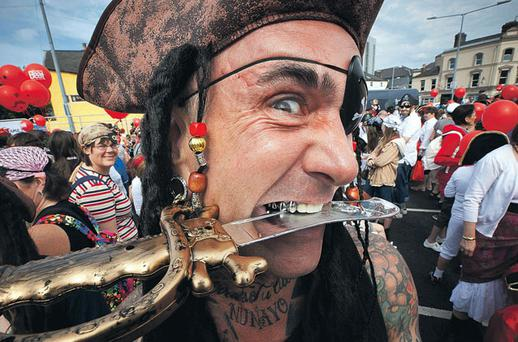 Sam Hodman from Waterford, joins other pirates, in an effort to break the record for the most pirates in one location yesterday