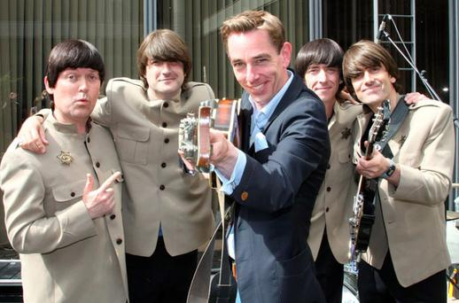 'Late Late Show' host Ryan Tubridy and the stars of 'Get Back: The Story of The Beatles'. Photo: MARK DOYLE