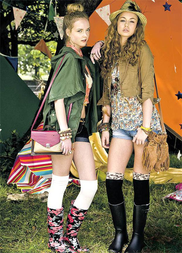 Model left): Shirt, €13; necklace, €5; hotpants, €7; belt, €3; poncho, €2; earrings, €3; bracelets, from €3; rings, from €3; bag, €8; socks, €2.50, and boots, €11 (Model right) Jacket, €17; top, €14; belt, €3; shorts, €13; waistcoat, €13; necklace/belt, €3; necklace, €5; bracelets, from €3; earrings, €3; bag, €5; hat, €4; feather, €2; socks, €3, and boots, €15