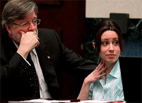 Casey Anthony pictured during her trial with defense counsel Cheney Mason. Photo: Reuters