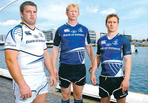 Left to right: Sean O'Brien, Leo Cullen and Eoin Reddan at the launch of the Leinster jerseys yesterday