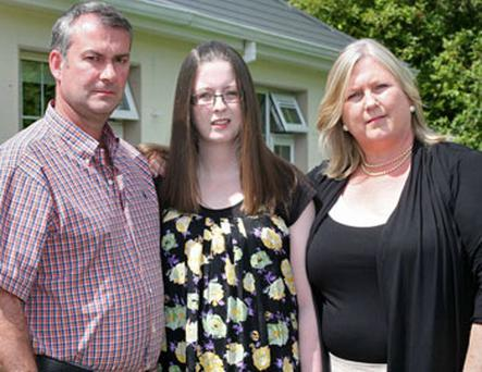 Liver transplant patient Meadhbh McGivern with her parents, Joe and Assumpta