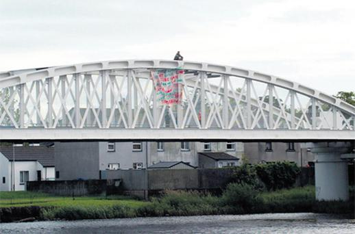 Gerry Geraghty on top of the bridge yesterday