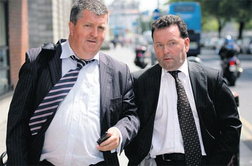 Finbarr Buckley, left, and Paul Crowe at Dublin Circuit Civil Court yesterday