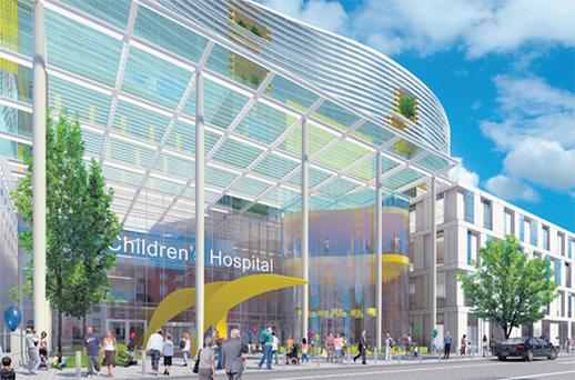 An image of what the entrance of the new children's hospital will look like under proposed plans