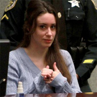 Casey Anthony sits in court during her sentencing in Orlando, Florida. Photo: Reuters