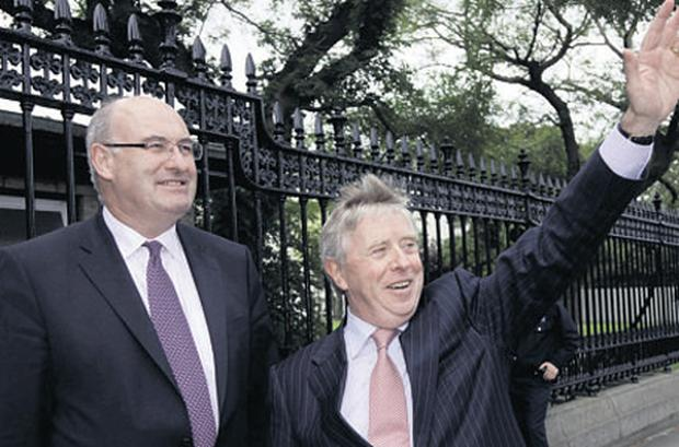 Pat Cox, right, with Phil Hogan yesterday