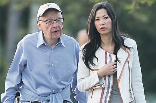 News Corp chairman and CEO Rupert Murdoch with wife Wendi in the US yesterday