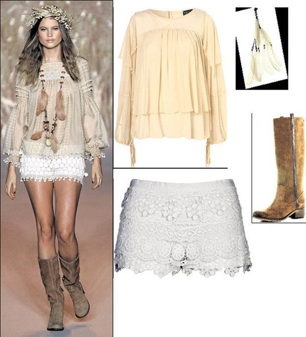 Chiffon top, €53; feather necklace, €21, and feather hairclip, €18, all at Topshop.com; Boots, €121, and lace shorts, €40, both at River Island