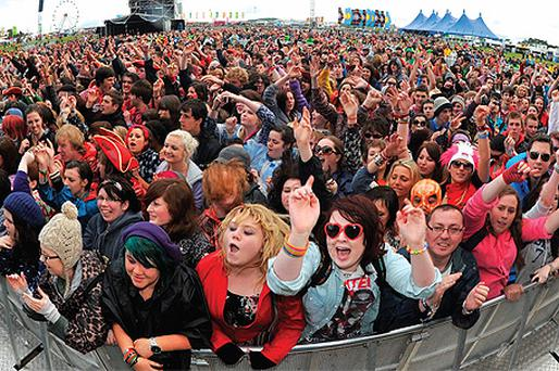 Crowds enjoy the music at Oxegen in Punchestown, Co Kildare, yesterday
