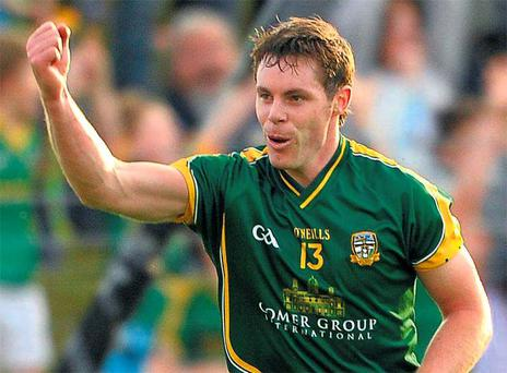 Meath's Stephen Bray celebrates after scoring the winning point in his side's victory over Galway