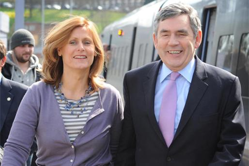 Gordon Brown and wife Sarah arrive in Rochester, Kent