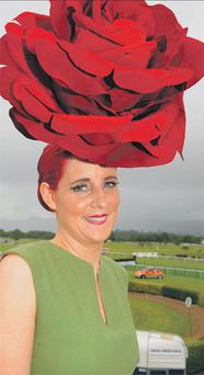 Clockwise from main: Joanne Murphy, who won Most Stylish Hat on Ladies' Day at Killarney Races. DON MacMONAGLE
