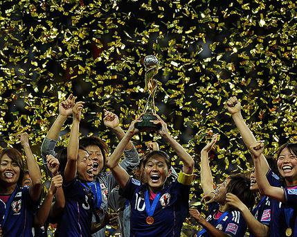 Japan celebrates winning the Women's World Cup