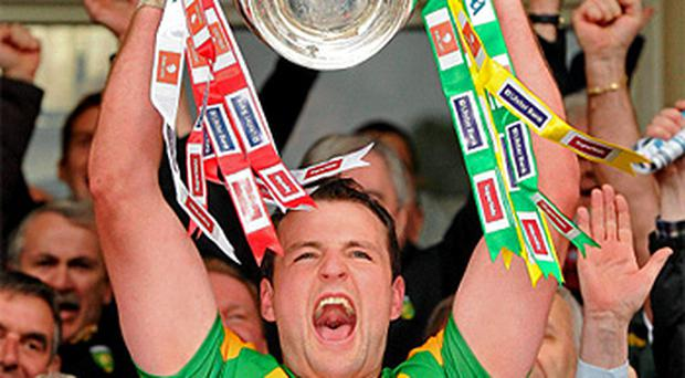 Donegal captain Michael Murphy lifts the Anglo Celt Cup. Photo: Sportsfile