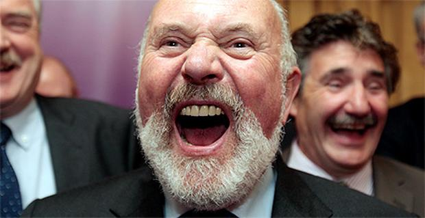 Senator David Norris poses for the cameras at Leinster House yesterday