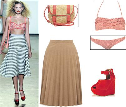 Frill stripe bandeau bikini, €42, and suede wedge, €106 Topshop; Pleat skirt, €60, Oasis; Straw satchel with coral trim €35.90, at Asos.com