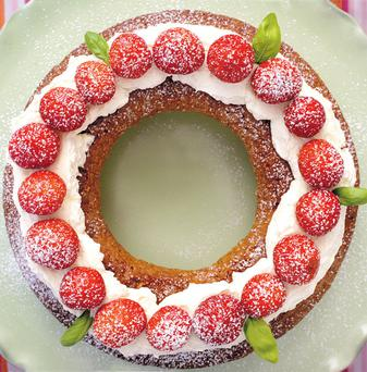 OLIVE OIL CAKE WITH STRAWBERRIES, BASIL-AND-LEMON SYRUP AND MASCARPONE