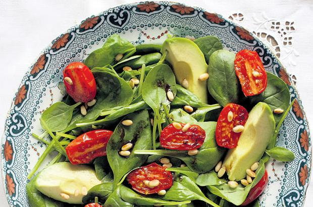SPINACH, ROAST TOMATO, AVOCADO AND PINE NUT SALAD WITH SHERRY VINEGAR DRESSING