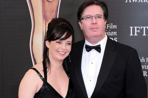 Melanie Verwoerd and Gerry Ryan at the Irish Film and Television Awards at the Burlington Hotel, Dublin. . Picture: Arthur Carron/ Collins