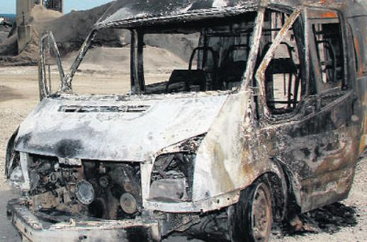 One of the burnt vehicles in Ballyconnell