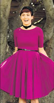 This 50s-style dress is from La Rochelle at Carraig Donn. Barbara found this vintage hat on the website etsy.com
