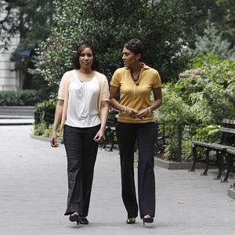 ABC's Robin Roberts, right, talks to Nafissatou Diallo, the alleged victim in the Dominique Strauss-Kahn assault case (AP)