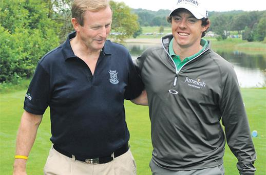 Enda Kenny's good luck continued yesterday as he parred six holes in the Pro-Am Irish Open curtain-raiser with teammate Rory McIlroy to finish fifth after an enjoyable day's golf