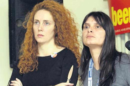 Former 'News of the World' editor Rebekah Brooks (left) with Sara Payne, mother of murdered Sarah Payne