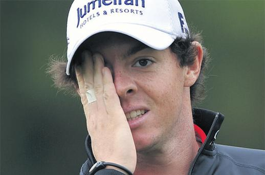 Rory McIlroy reacts to a poor shot during the first round of the Irish Open at Killarney yesterday