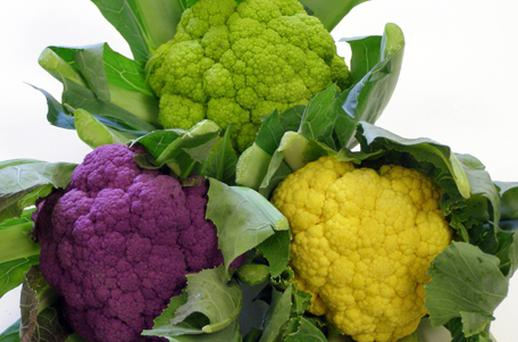Handout photo issued by Tesco of different colourer cauliflowers which will be sold in a 'rainbow pack' exclusively for Tesco from tomorrow. Photo: PA