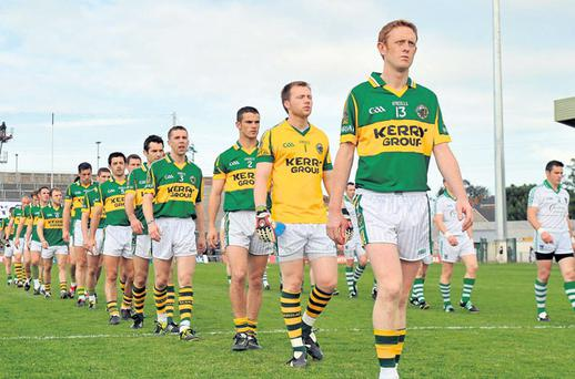 Colm Cooper leads the Kerry team in the pre-match parade against Limerick at the Gaelic Grounds back in June – the Kingdom's skipper with be doing the same thing tomorrow, but this time in Croke Park