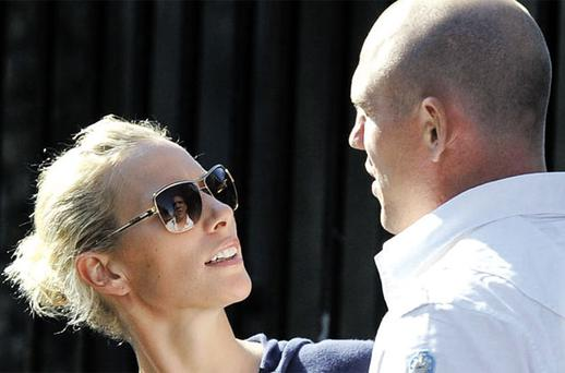 Zara Phillips and Mike Tindall, after a wedding rehearsal in Edinburgh, Scotland