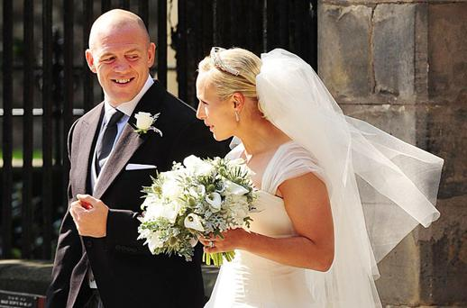 RELAXED AFFAIR: Zara Phillips and groom Mike Tindall, who tied the knot yesterday in Edinburgh. Photo: PA