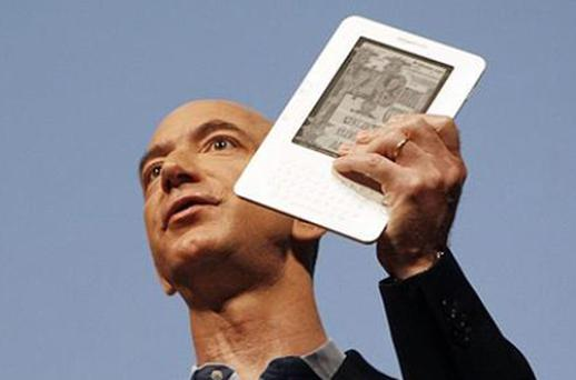Amazon chief executive Jeff Bezos with the Kindle. Photo: Reuters