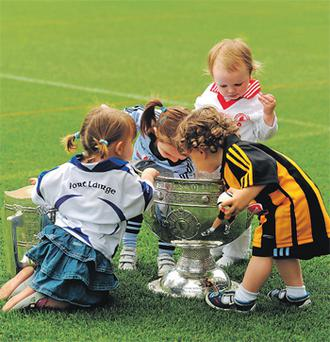 Dubliner Eabha Milton playing with Katherine Leddy in the Waterford jersey, Hannah Fox (Tyrone) and Larry Hickey (Kilkenny)
