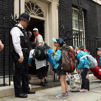 A group of Beavers arrive at 10 Downing Street
