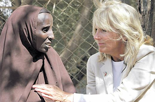 US Second Lady Jill Biden talking to mother-of-four Fatuma Adem in the Dadaab refugee camp in Kenya yesterday